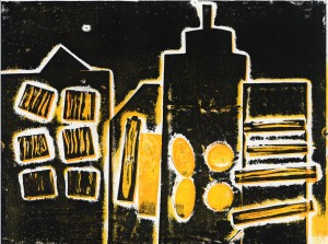 Abstract city skyline in black and yellow