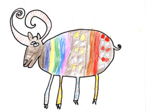 Drawing of an ox colored with multicolored stripes