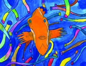 Painting of clownfish with blue background and colorful shapes