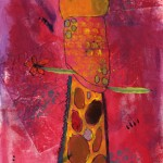 Painting of a giraffe's neck and head on pink background
