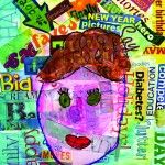 Word collage with neon paint and girl face painted over word collage