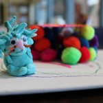 Clay sculpture of a blue lion
