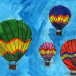 Painting of hot air balloons in the sky
