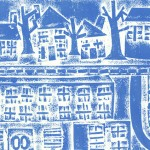 Blue and White print of houses