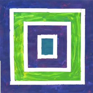 Layered squares in green and purple