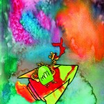 Multicolor background with dragon in a rocket