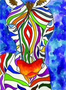 Multicolored Zebra painting