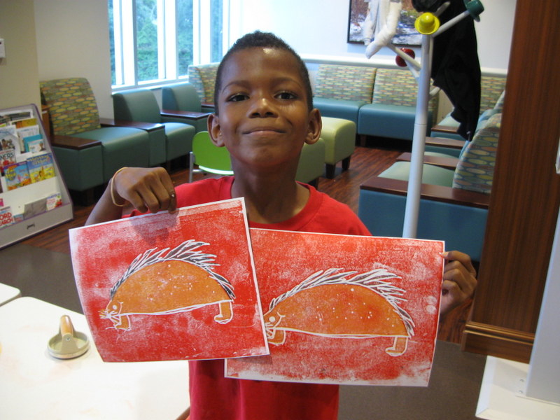 Jahlani with his porcupine print