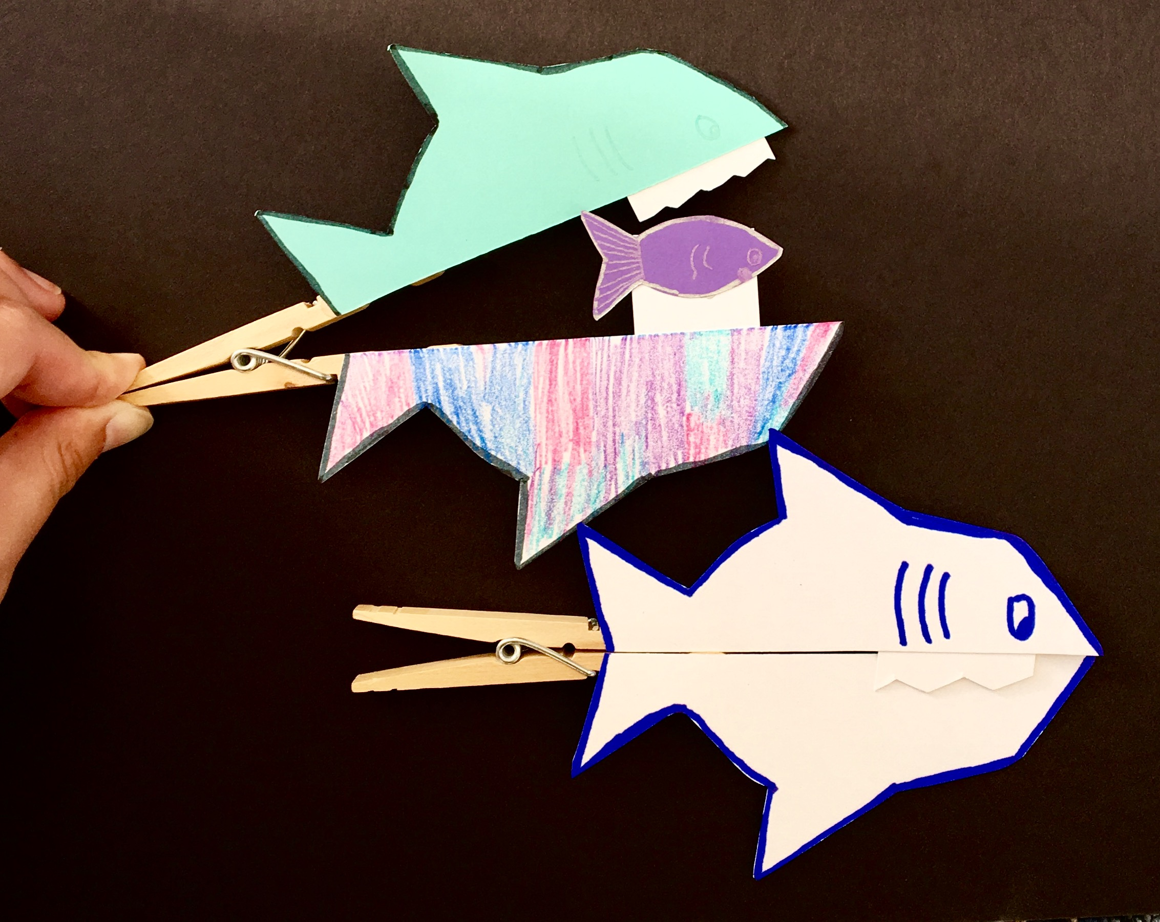 Clothespin Sharks by Chastity, age 12